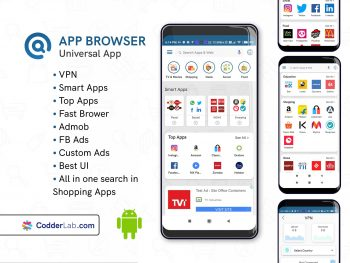App Browser – All in one Browser With VPN app | android source code & admin panel | codderlab