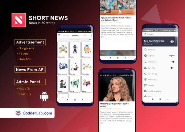 Short News app - Inshorts Clone Features |Android Source Code | codderlab.com